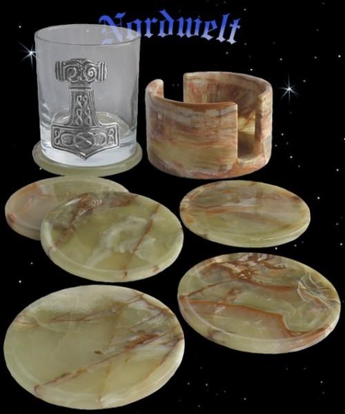 Untersetzer aus Onyxmarmor Marmor für Bierkeller Party Keller