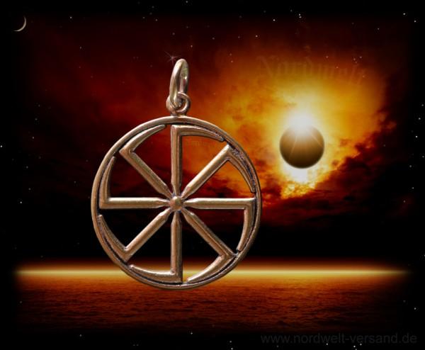 Kolovrat Sonnenrad Svarog Anhänger Bronze