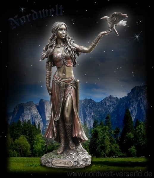 War goddess Morrigan with crow, bronze colored