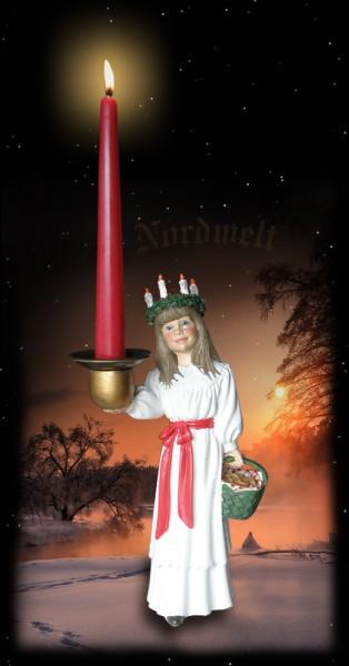 Lichtgöttin Lucia Weihnachten Statue Lichtbringerin Keramikfigur nordischer Brauchtum