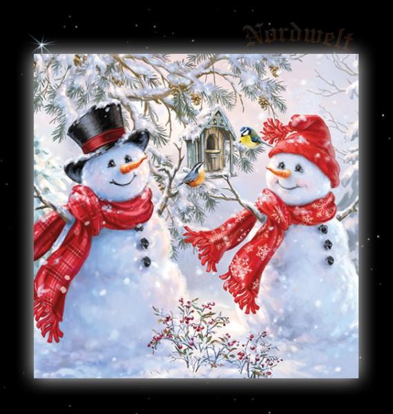 Servietten mit Schneemann und Schneefrau verliebt Nostalgie Winterlandschaft Weihnachtsservietten