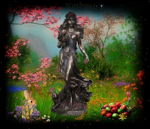 Ostara Figur Statue Lichtgöttin Frühlingsgöttin und Fruchtbarkeitsgöttin Osterfest