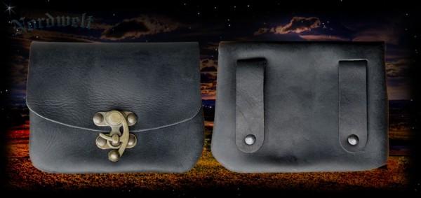 Mittelalter Gürteltasche mit Hakenverschluss, Geldtasche schwarz