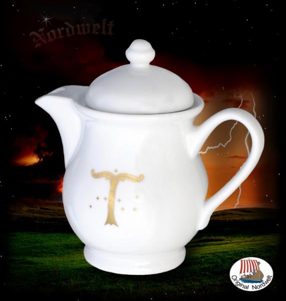 Porzellan - Kaffeekanne mit Irminsul Weltenbaum Yggdrasil