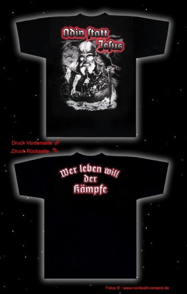 """T-Hemd Odin - """"Wer Leben will ..."""" (S-4XL), schwarz"""