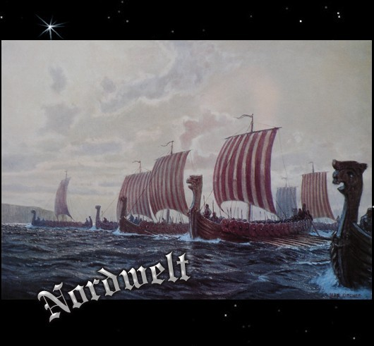 Wikingerflotte Wikingerschiffe Langboote Wikinger Poster Kunstdruck
