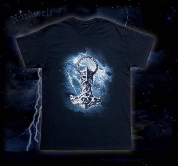 Thorhammer T-Shirt mit Mjölnir Pagan T-Hemd Thors- Hammer Pagan Asatru