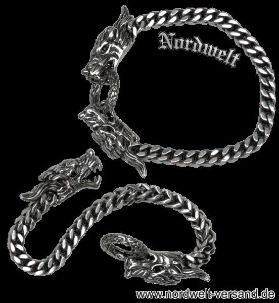 Armkette mit Drachenköpfen Asatru Pagan Wikingerschmuck