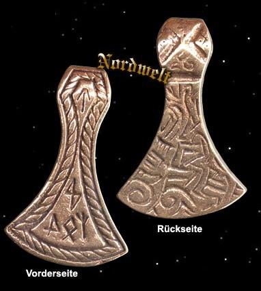Anhänger Axt mit Runen Germanen und Wikinger Schmuckanhänger Kriegeraxt bronze