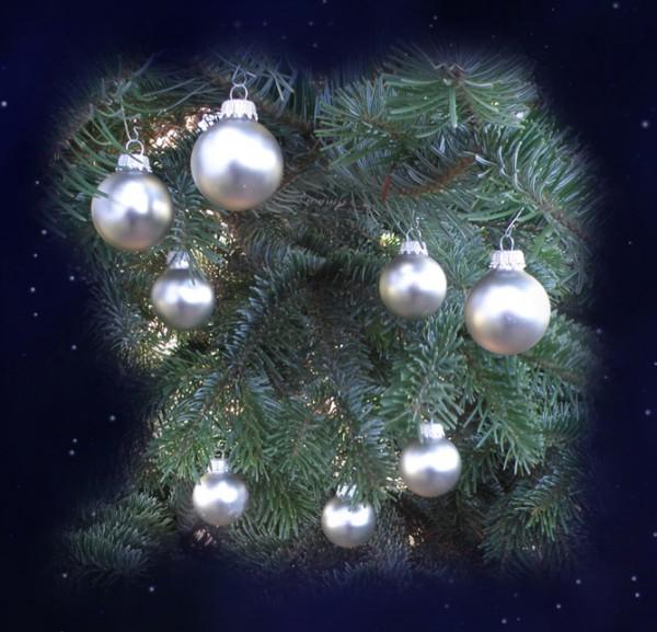 Weihnachtsbaum-Kugeln, antik silber (4 cm) Julbaum- Schmuck