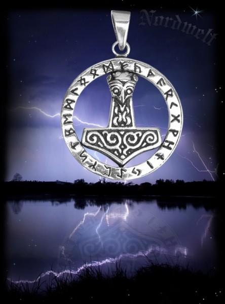 Runen Anhänger mit Thorhammer aus 925er Silber Thors Hammer Mjölnir Futhark