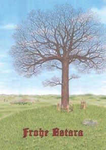 Frohe Ostara Postkarte zum Osterfest heidnischer Brauch